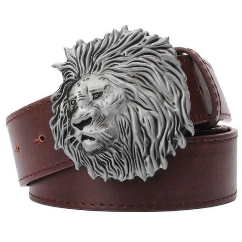 Leather belt Lion King Belt with Lion/'s head. buckle Brass lion head