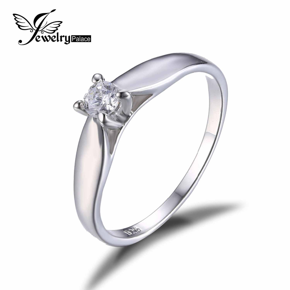 Jewelrypalace 925 Sterling Silver 02ct Cubic Zirconia Solitaire Engagement  Ring For Girl Fashion Simple Jewelry