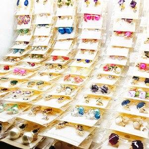 Image 3 - Hurtownia 60 par różne moda damska biżuteria piękne kolczyki z kryształem stadniny kolczyki Mix style