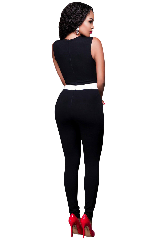 Black-White-Color-Block-V-Neck-Sleeveless-Catsuit-LC64186-2-3