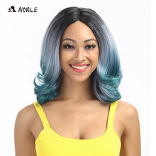 Noble I Part Lace Wigs 12 Inch Wavy Short Green Grey Synthet