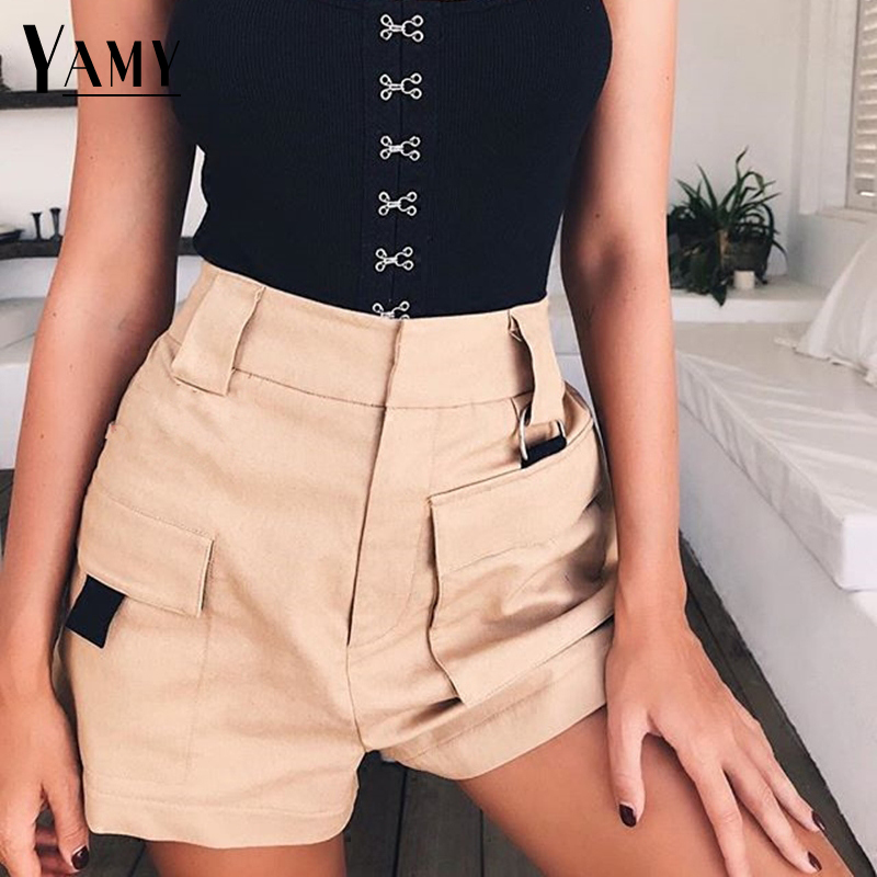 2018 Summer   Short   Feminino Elastic Women High Waist   Shorts   Cotton Korean Style Vintage White Black Ladies   Shorts