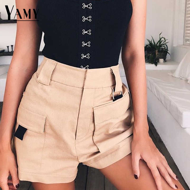 2018 lato krótki Feminino elastyczne kobiety wysoka talia szorty bawełna koreański styl w stylu Vintage, białe, czarne szorty damskie