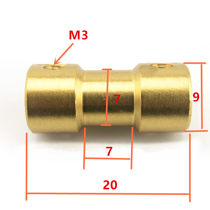 2mm 2.3mm 3mm 3.17mm 4mm 5mm 6mm Brass Rigid Motor Shaft Coupling Coupler Motor Transmission Connector with Screws Wrench image