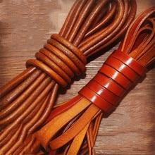 2 м/лот 2/3/4/5/6/8/10 мм плоский круглый шнур из натуральной кожи в стиле ретро; коричневые из коровьей кожи шнур веревочный браслет выводов, сделай сам, ювелирное изделие
