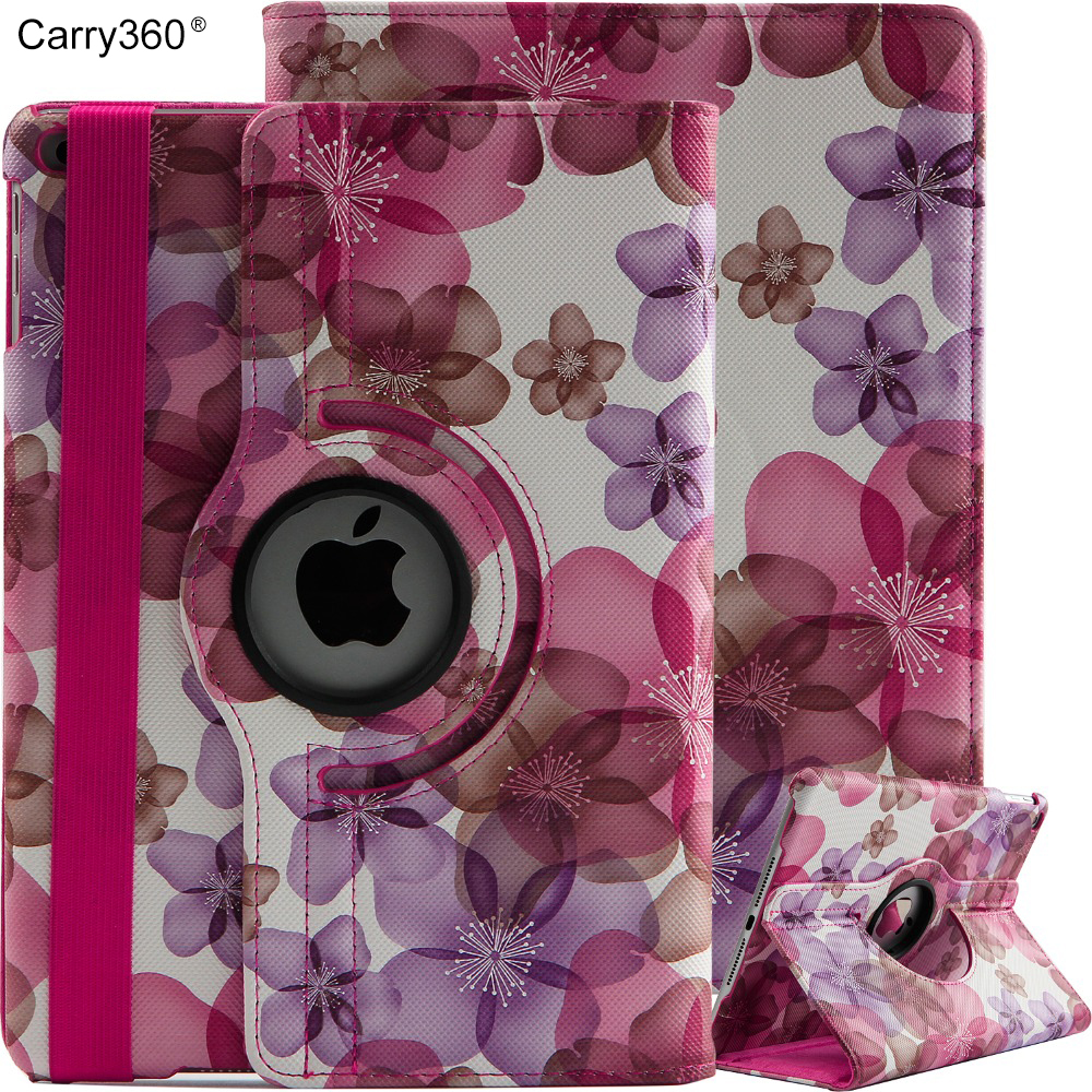 Carry360 Cover Case for 2017 New iPad 9.7 inch 360 rotating Flower PU leather for New iPad 2017 Model A1822 +Film +Pen Gift case cover for goclever quantum 1010 lite 10 1 inch universal pu leather for new ipad 9 7 2017 cases dust plug pen