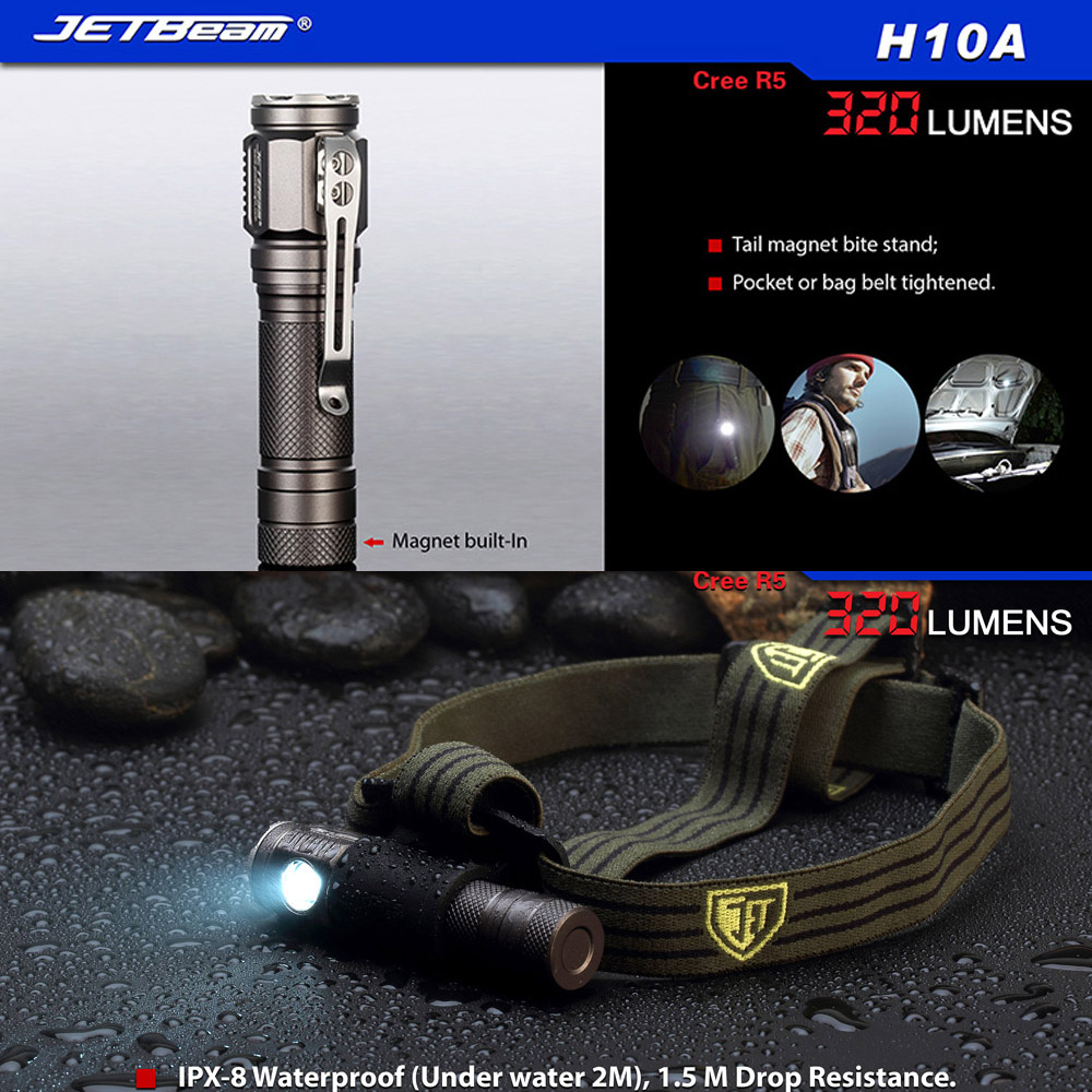 Jetbeam H10A Outdoor Waterproof LED Headlamp Pocket Clip Magnetic Stand CREE Flashlight Torch R5 320 Lumens By 14500 or AA Power thrunite th20 led headlamp 520 lumen cree xp l led head flashlight mini edc aa 14500 torch waterproof headlight