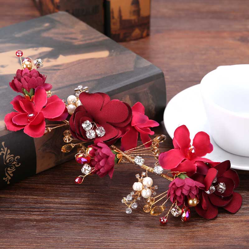 Elegant Hair Accessories For Women Red Lace Flower Barrettes Tiaras Gorgeous Wedding Floral Headwear Jewelry Headbands Hairband