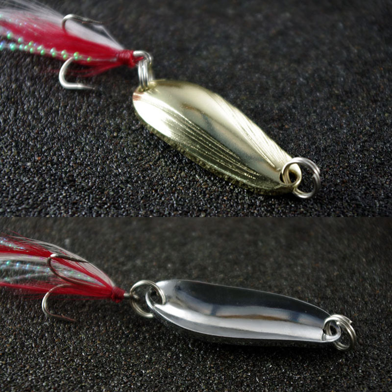 Fishing Spoon Lure 3-13g Feather Jig Treble Hook Artfiicial Shell Long Casting Lures Lot 2 Pieces