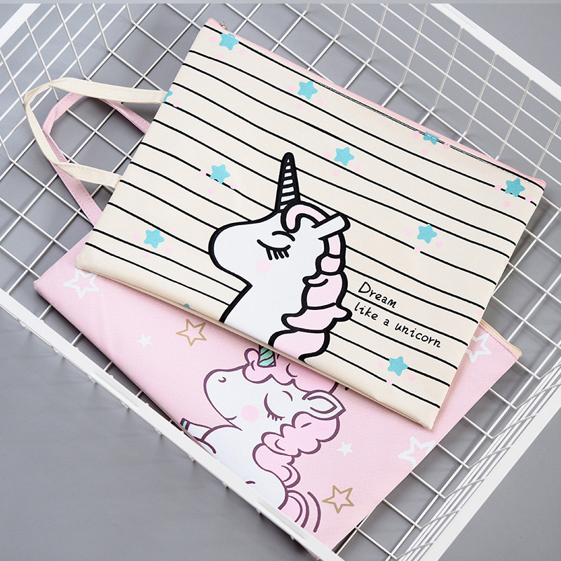 Cute Unicorn Document Holder Office Folder Storage Fabric Pouch Package for A4 Paper Portable Pocket File Folder School Supplies a5 20 page 30 page 40 page 60 page file folder document folder for files sorting practical supplies for office and school page 8