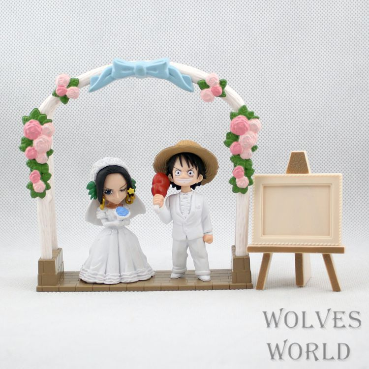 SANITGI One Piece Monkey D Luffy&Boa Hancock get married PVC Action Figure Collection Toy 8CM Anime Free Shipping free shipping 7 one piece anime monkey d luffy kabuki edition boxed 18cm pvc action figure collection model doll toy gift