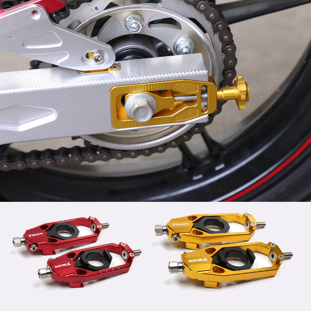 Motorcycle Accessories CNC Aluminum Alloy Tensioners Rear Axle Spindle Chain Adjuster Blocks For YAMAHA TMAX 530 T-MAX530 12-16Motorcycle Accessories CNC Aluminum Alloy Tensioners Rear Axle Spindle Chain Adjuster Blocks For YAMAHA TMAX 530 T-MAX530 12-16