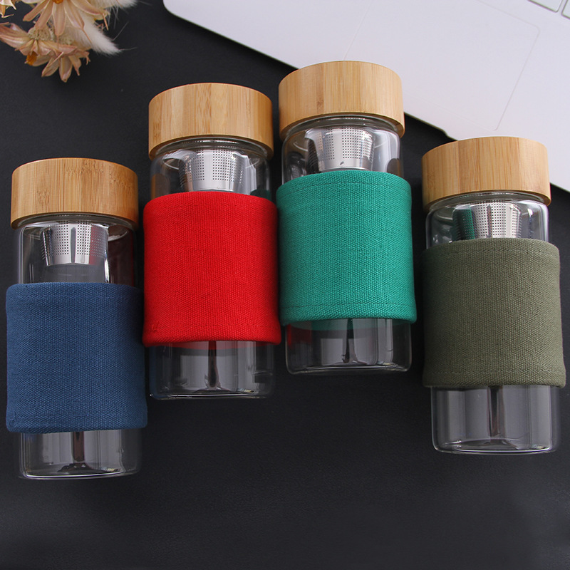 400ml Portable Glass Water Bottle With Bamboo Lid 4