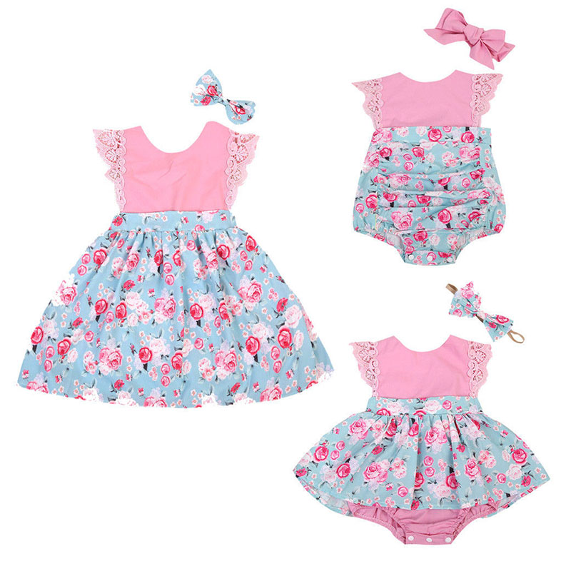 2017 Summer Cute Sister Match Floral Lace Baby Girl Bodysuit Skirted Romper Toddler Kids Dress Headband 2PCS Children Clothes