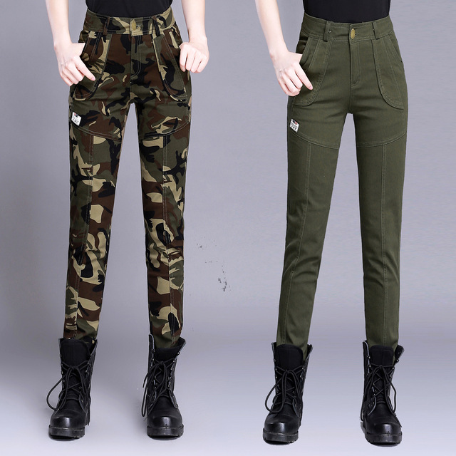 bcf2aa49682cd Women s High Waist Camouflage Army Pants Cotton Military Cargo Pants Casual Female  Plus Size Army Green