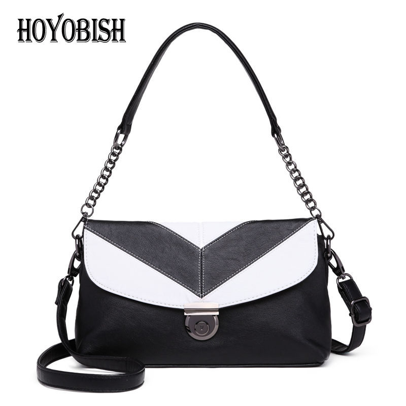 HOYOBISH Autumn Winter New Concise Lock Hasp Handbags For Women Flap Chains Shoulder Bags Black White Design Ladies Bolsa OH125 stylish bicycle lock and round pendant double sweater chains for women