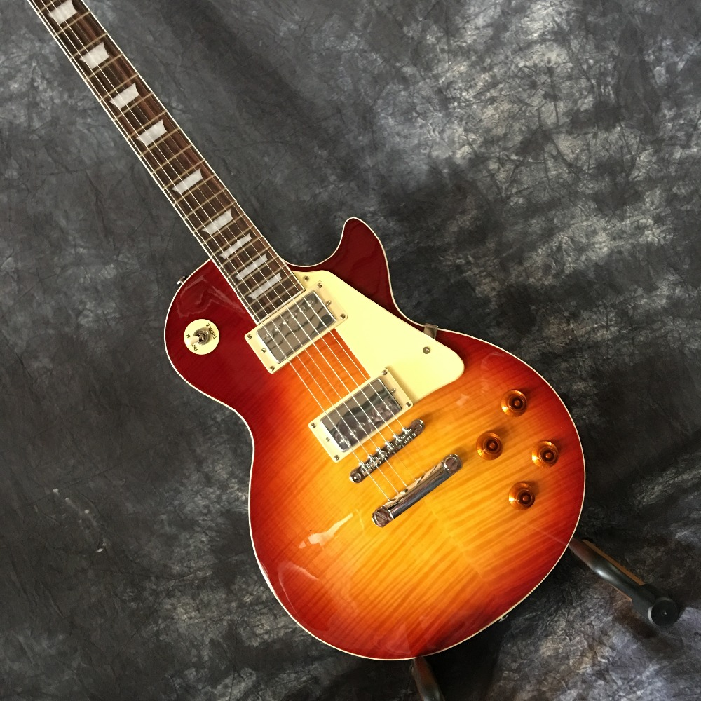 Classic LP 1959 R9 Tiger Flame les Electric guitar with Chrome hardware, Maple body LP standard guitar,Free shipping цена 2017