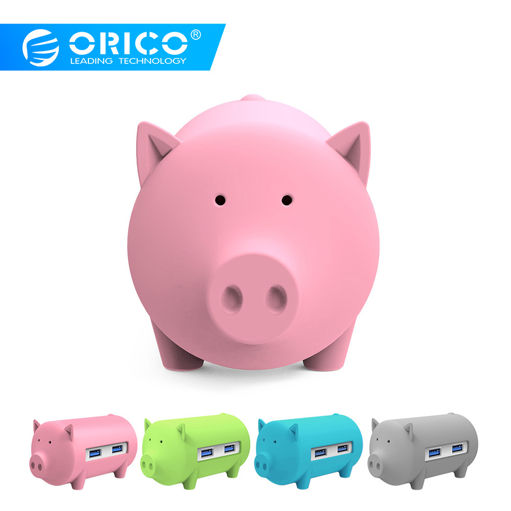 ORICO H4018 USB3.0 Hub Litte Pig Hub USB3.0 3 Porter med TF SD-kortleser for MacBook Air Bærbar PC-støtte OTG-funksjon HUB