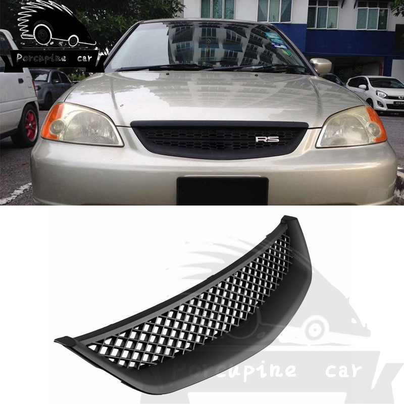 ABS Front hood intake grill of Racing Car Grille Molding Cover Front Ventilation Grille Label Cover For Honda Civic 2001-2003