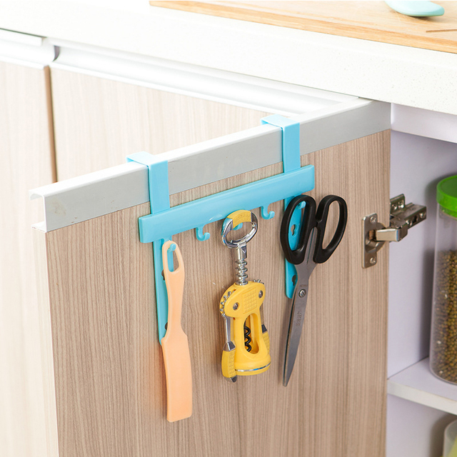 Kitchen Hook Towel Rail Hanger Bar Holder Bathroom Storage Tools Plastic  ABS Cabinet Hanger Over Door