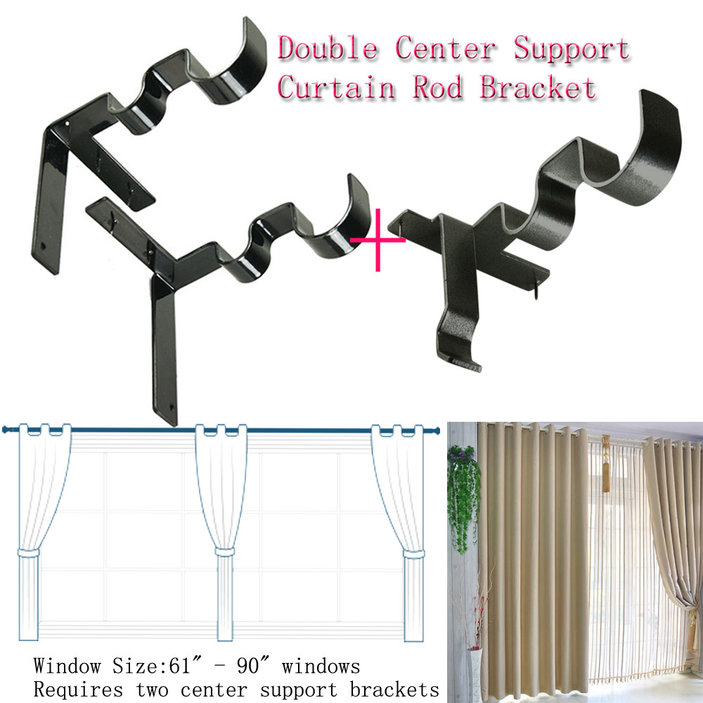 Long Curtain Rod Brackets Us 4 8 Double Curtain Rod Bracket Kwik Curtain Hang Double Center Support Curtain Rod Bracket Into Window Frame For Dropship In Brackets From Home