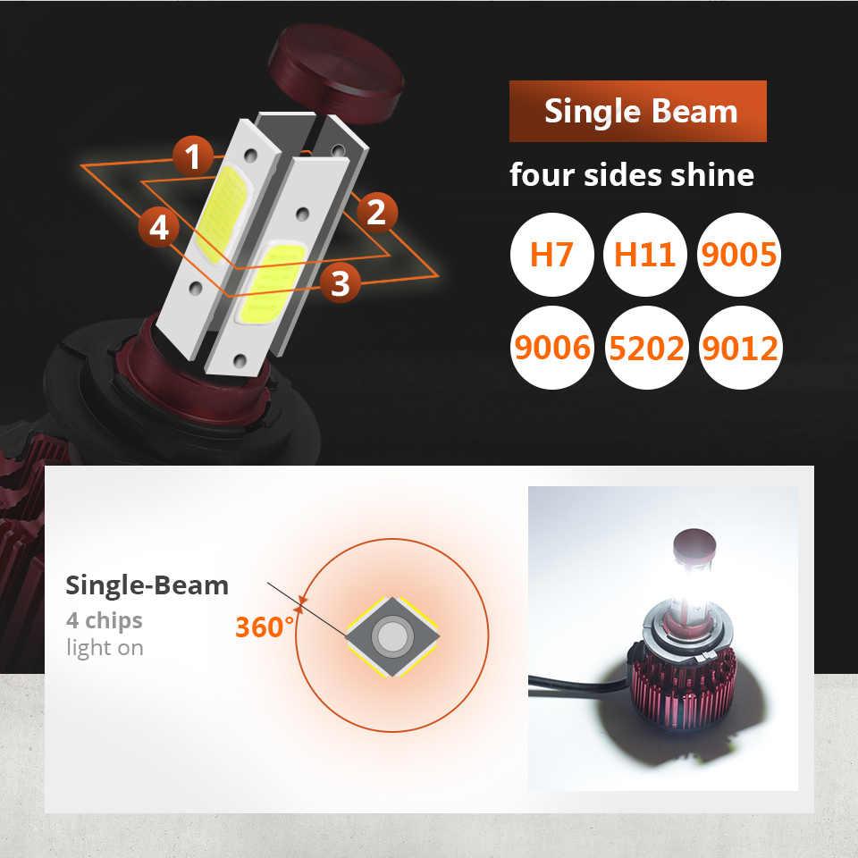 Oslamp 2pcs 100W/Set H4 Led Headlight Bulb 4 Sides COB Chips LED H7 Car Light Auto H11 LED Lamps 6500K 9005/9006/5202 All-in-One