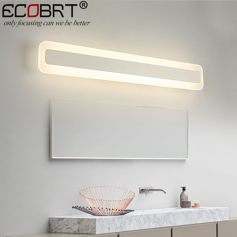 ECOBRT Modern LED Mirror Lights Lamps 40cm 50cm long Square Indoor Wall Mounted Acrylic Bar Lights 14W 16W AC 100-240V AC ecobrt 80cm long modern bathroom wall lights indoor 16w led mirror lamps over mirror 110v 220v