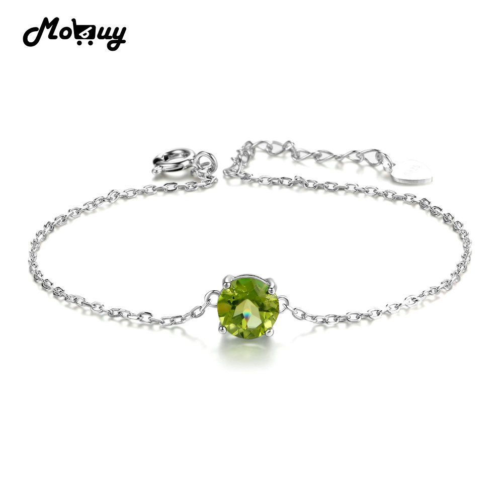Us 11 58 41 Off Mo Mbhi039 Flat Natural Gemstone Peridot Bracelets Bangles 925 Sterling Silver Jewelry White Gold Plated Chain For Women In