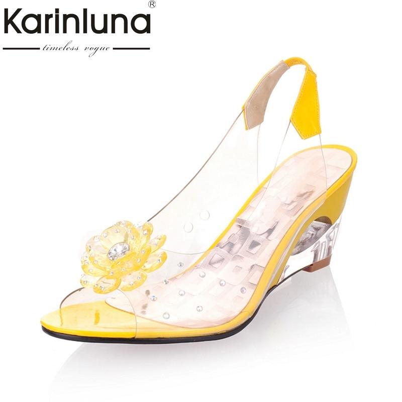 c40352dd45d33d Kaufen Günstig KARINLUNA 2018 große größe 30 43 blume peep toe keil  fretwork heels frau schuhe frauen mode dame sommer sandalen Preise Online