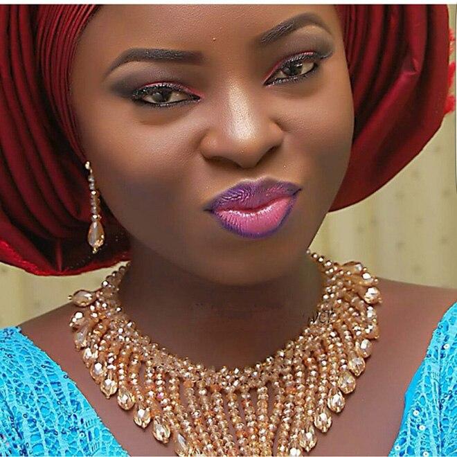 Mode Champagne or perles africaines bavoir déclaration bijoux ensemble cristal perlé collier boucles d'oreilles ensemble nouveau livraison gratuite WD734