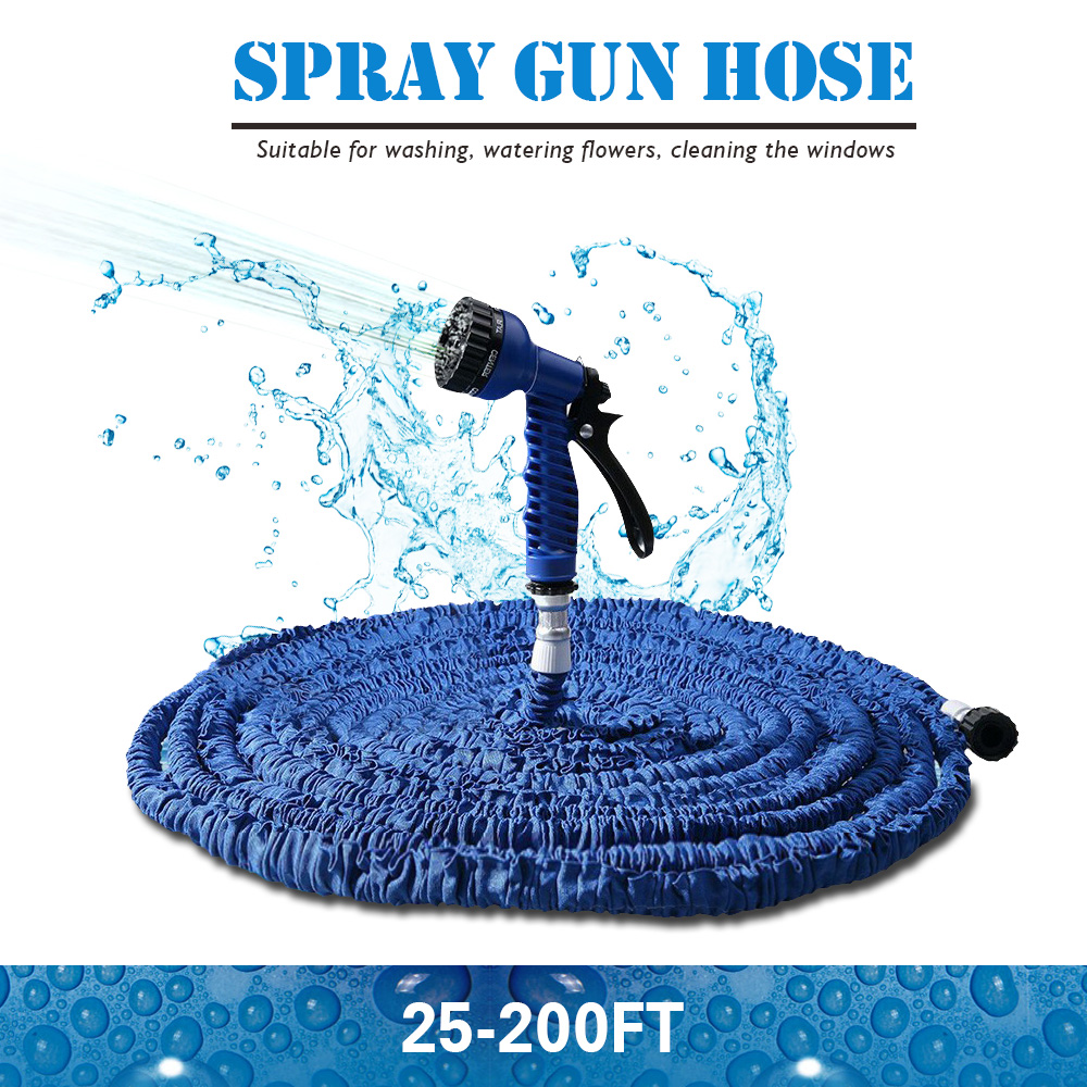 Hot Sale 25-200FT Expandable Magic Flexible Garden Water Hose For Car Hose Pipe Plastic Hoses To Watering With Spray Gun BLUE