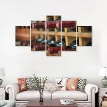 Laeacco Canvas Calligraphy Painting 5 Panel Posters and Prints Bar Bottle Wine Cellar Wall Artwork Home Living Room Decoration