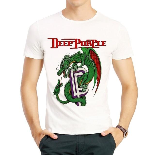 Bianco Purple Colore Band Deep T Moda Rock Manica Shirt Corta Di hrtsQdC
