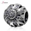 925 Sterling Silver Sunflower Charms with Clear CZ Stones Beads Fits European Pandora DIY Bracelets Fashion Jewelry