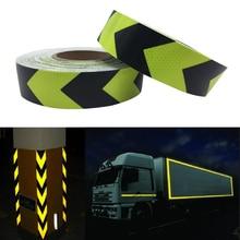 yellow&black arrow PET Reflective Tape Safety Warning Good Viscous Waterproof Long Service Life