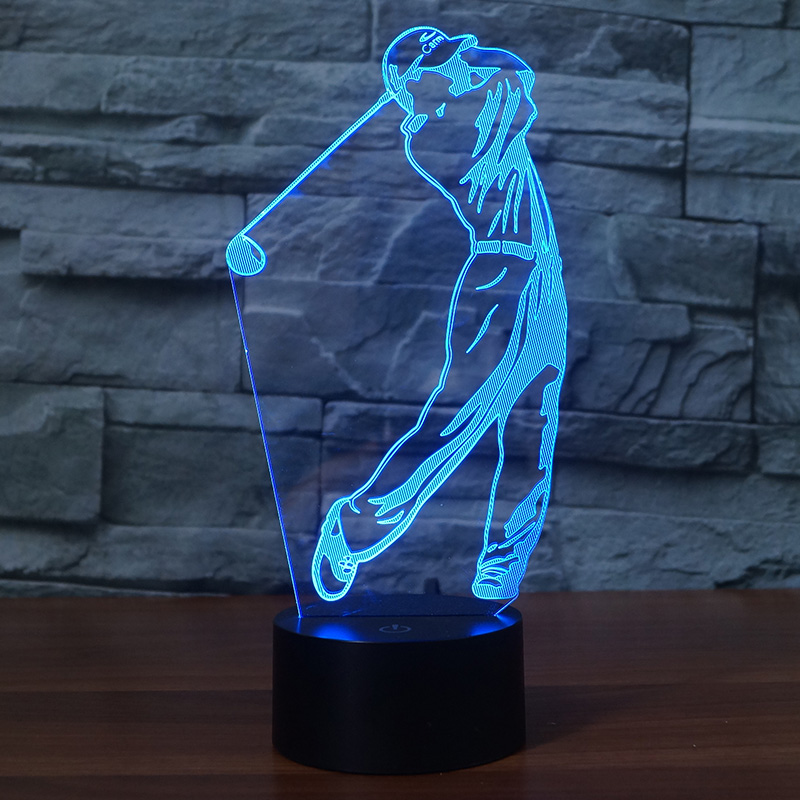 Playing golf shape 3d night lights 7 Changing Colors touch switch for home Decor or gift support USB