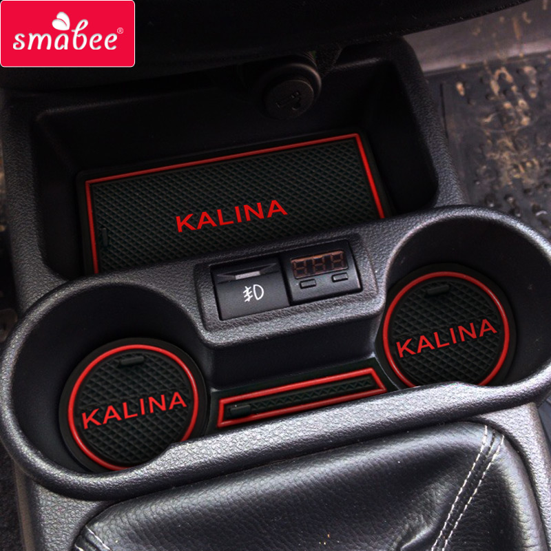 Pour Lada Kalina II MK2 2013-2018 Anti-Slip En Caoutchouc Tasse Porte Groove Mat BA3 2192 2194 Accessoires 2014 2015 2016 2017 Avec Logo