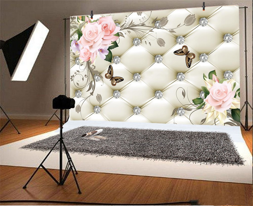 Laeacco Floral Bed Headboard Diamond Butterfly Scene Fundaluri - Camera și fotografia - Fotografie 2