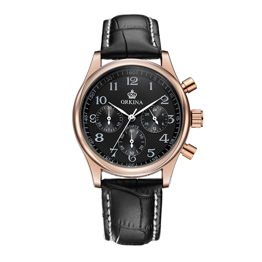 ORKINA Luxe Hommes Montres 2017 Étanche Véritable Mode En Cuir Casual Montre-Bracelet Homme D'affaires Sport Horloge Classique Rose Or