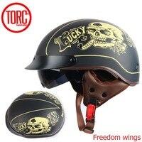 TORC T55 vintage motorcycle helmet retro scooter half helmet with Built in lens visor casco moto helm moto capacete para DOT
