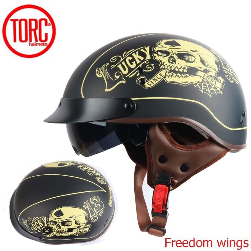 TORC T55 vintage motorcycle helmet retro scooter half helmet with Built-in lens visor casco moto helm moto capacete para DOT