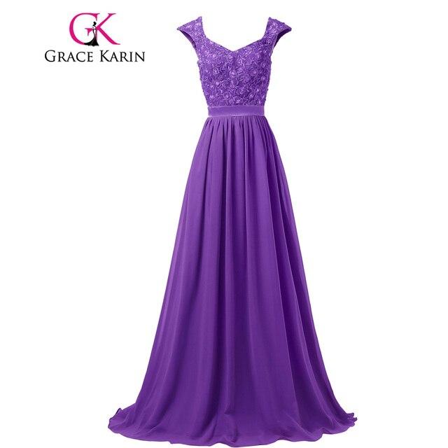 Elegante Anmut Karin Grau Blau Lila Lange Abendkleider Lace Chiffon ...