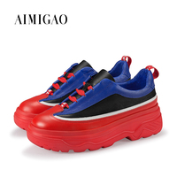 Cowhide Leather Round Toe Platform Designer Women Sneakers Mixed Color Fashion Lace Up Casual Women Flats Shoes 2018 Spring New