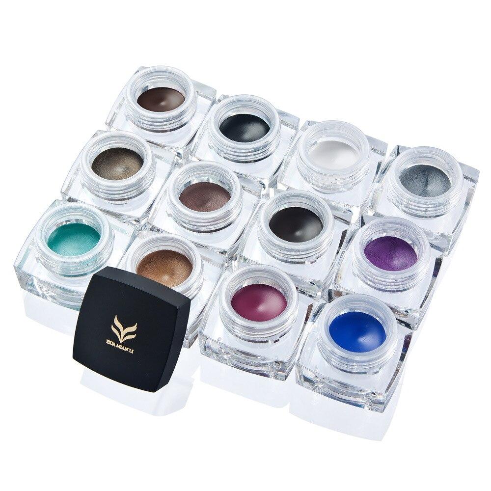 HUAMIANLI Black Eyeliner Gel Waterproof 12 Color White Cosmetic Eye Liner Gel Eyes Makeup Glitter Matte Fast Dry Long Lasting