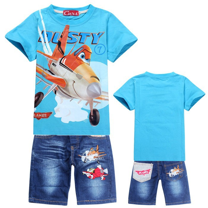 Children Boys Summer Cartoon Plane Shorts Denim Pants Sport Clothing Sets Baby Kids Short Sleeve T Shirt Jeans Clothes Suits zengli mens denim cargo shorts jeans casual vintage blue pockets biker jeans summer knee length denim shorts 40 42 44 46 48