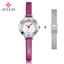 Free Stainless Steel Spare Strap Julius Womens Watch Mini Small Japan Quartz Children Hours Fashion Clock Leather Girls Gift