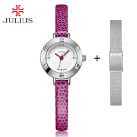Free Stainless Steel Spare Strap Julius Women's Watch Mini Small Japan Quartz Children Hours Fashion Clock Leather Girl's Gift