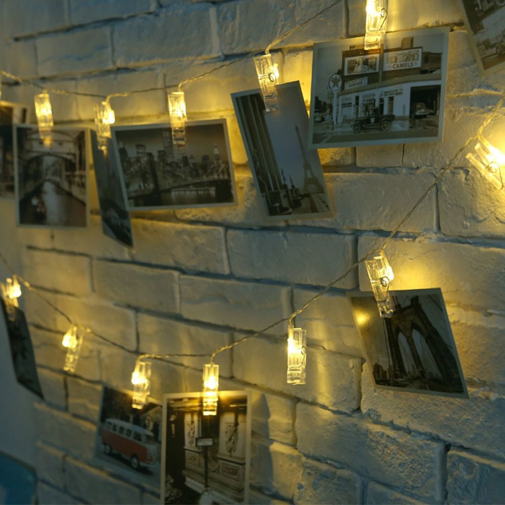 20 LED Plug-in Photo Clips For Christmas Holiday Decorative Lights Series With Eight Functions Decorative