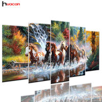 Huacan DIY Full Square Diamond Painting Running Horse Multi Picture Combination 3D Embroidery Cross Stitch Mosaic