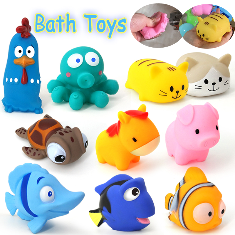Cute Animal Baby Bath Toys For Children PVC Float Squeeze Sound Dabbling Toys Kids Cat Fish Bathroom Pinch Spray Toy
